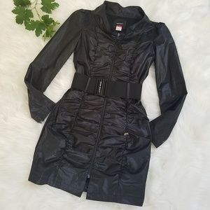 Miss Sixty Black Belted Ruched Trench Jacket Coat